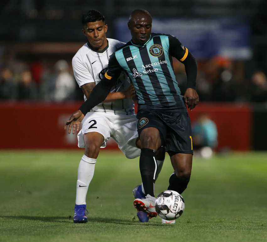 Austin Bold FC forward Promise Isaac (11) moves the ball during a USL soccer game between Austin Bold FC and San Antonio FC at Bold Stadium on Saturday, March 30, 2019 in Austin, Texas. Austin won 1-0.