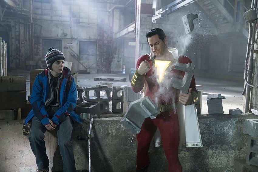 Jack Dylan Grazer and Zachary Levi in 'Shazam!'