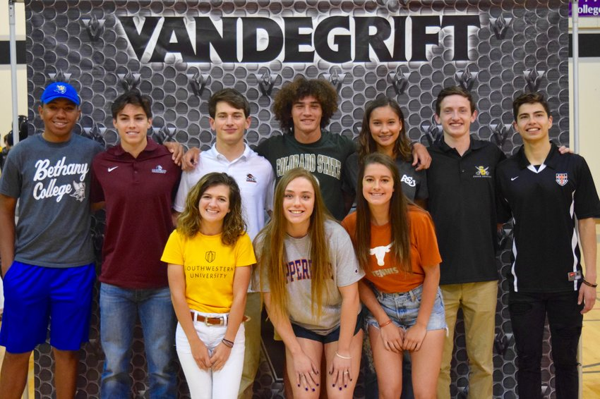 Back row left to right: Imy Nixon (golf, Bethany College), Ryan Merrifield (football, Trinity), Brendan Bennett (football, UTSA), Shay Schaffner (track and field, Colorado State), Kyla Peeples (track and field, Abilene Christian), Noah Dennis (cross country/track, Southwestern), Tim Barney (soccer, West Virginia Wesleyan). Front row left to right: Sarah Lucido (golf, Southwestern), Julianna Birlin (swimming, Pepperdine), Gabby Cusano (tennis, Texas).