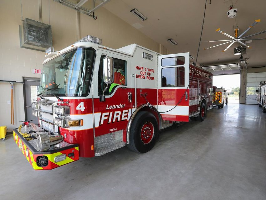 A fire truck sits inside Leander's Fire Station No. 4. The Leander City Council recently approved a $4 million bid to construct the city's fifth fire station, which will be located in the Travisso development.