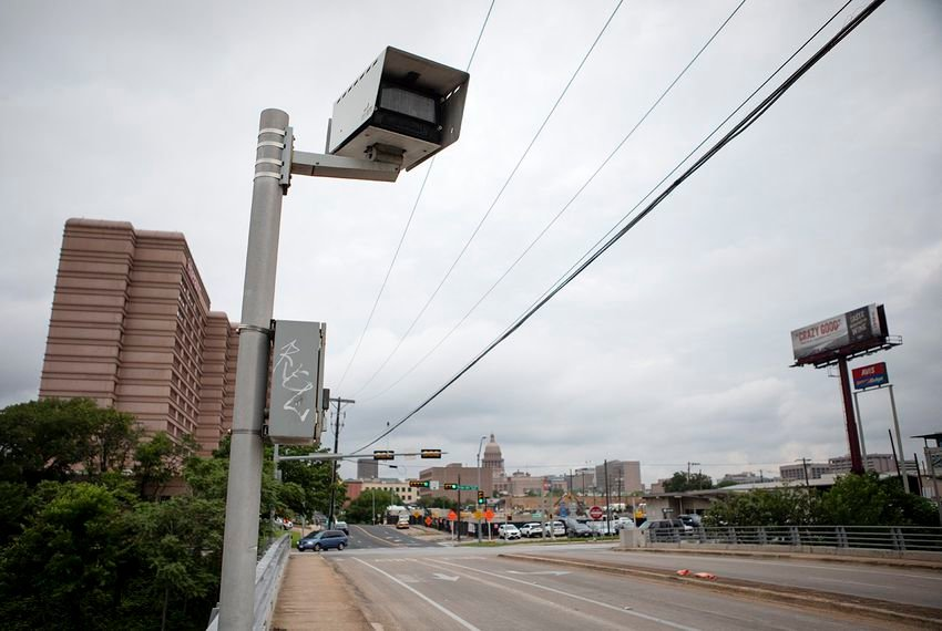 A red light camera at the intersection of I-35 and 11th St. near downtown Austin on May 6, 2019.