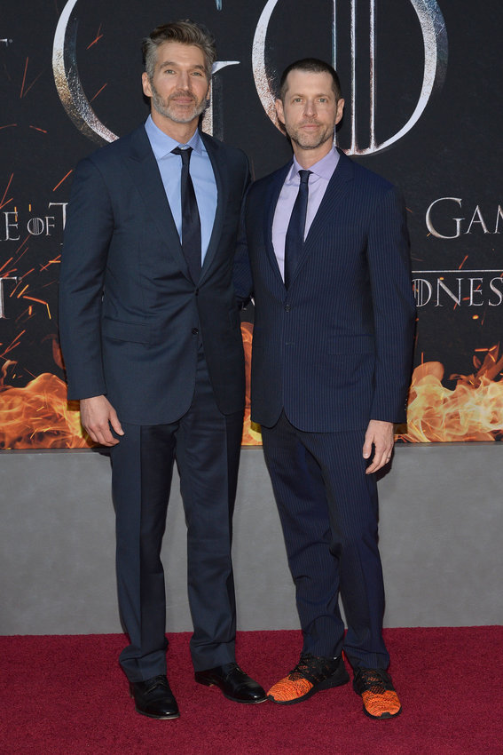 """David Benioff and D.B. Weiss attend the season premiere for the final season of HBO's """"Game of Thrones"""" at Radio City Music Hall in New York, NY, April 3, 2019. The two will direct a """"Star Wars"""" film due out in 2022."""