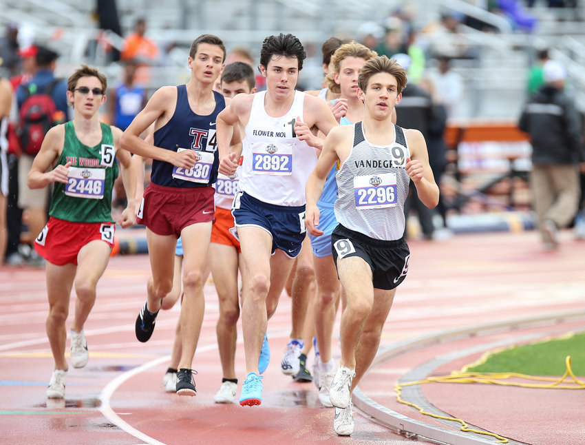 Anthony Monte of Vandegrift High School runs in the Class 6A boys 3200-meter run at the UIL State Track and Field Meet on Saturday, May 11, 2019 at Mike A. Myers Stadium in Austin, Texas.