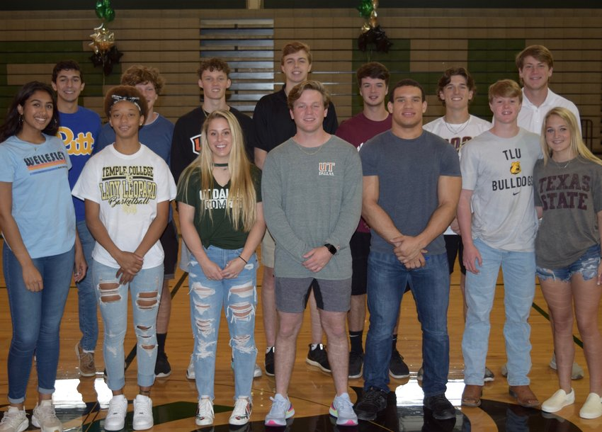 Back row: Dominic Toledo (Pitt, swimming), James Bublitz (Howard Payne, football), Ethan Keike (UTPB, basketball), Josh Baker (UTPB, basketball), Sam Householder (McMurry, baseball), Ean Hagy (Austin College, baseball), Ryan Fiala (Tyler Junior College, baseball). Front Row: Pujita Shukla (Wellesley, basketball), Alex Maresca (Temple Junior College, basketball), Mackenna Raby (UT Dallas, softball), Brooks Raby (UT Dallas, baseball), Jacob Munoz (Trinity, football) Cole Hollen (Texas Lutheran, football), Maddy Hollen (Texas State, cheer).