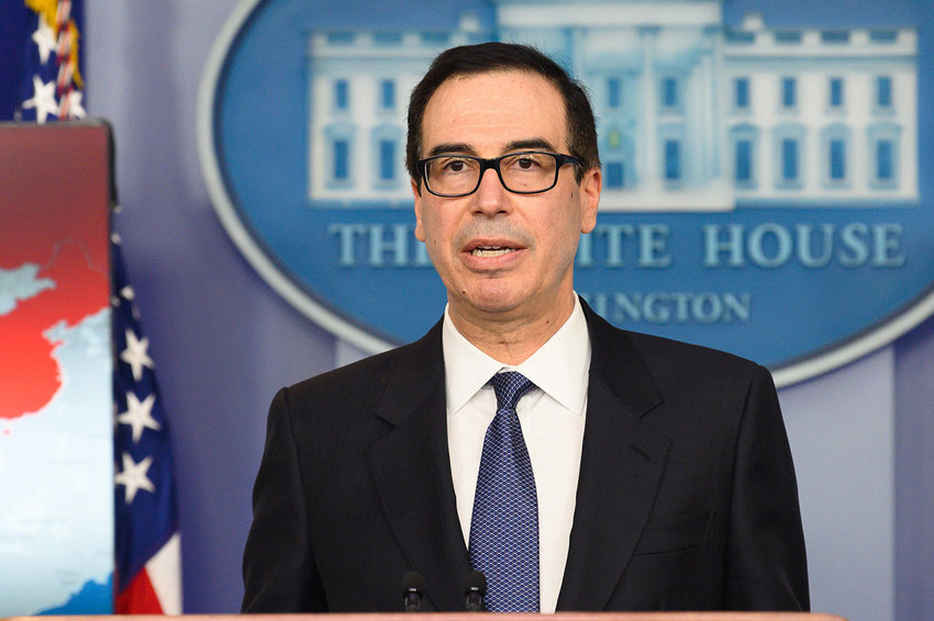 Steven Mnuchin, United States Secretary of the Treasury, in the White House Press Briefing room at the White House in Washington, D.C., on January 28, 2019.