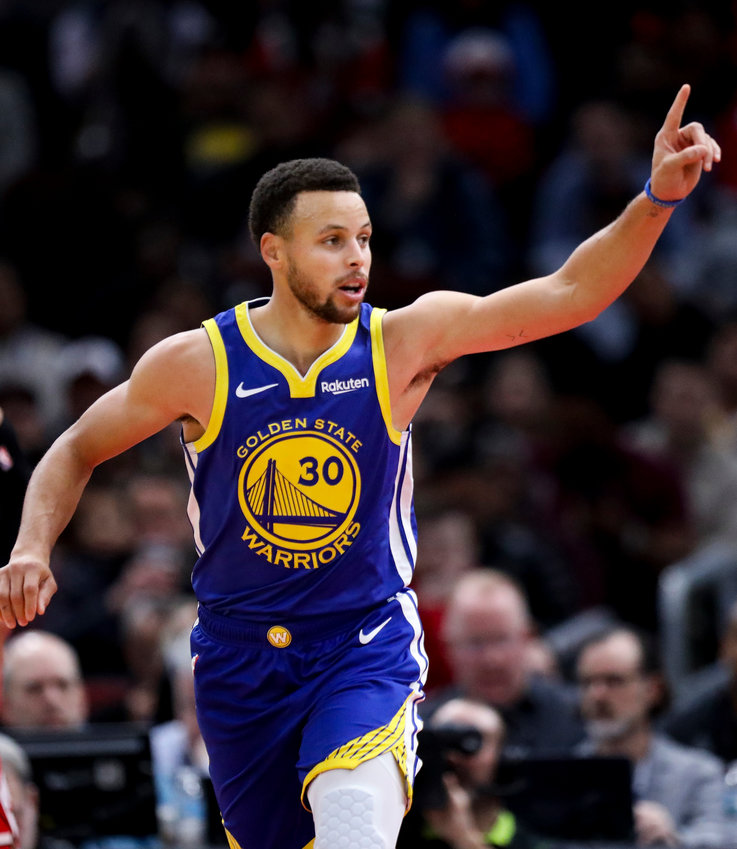 Golden State Warriors guard Stephen Curry on Oct. 29, 2018, in Chicago.
