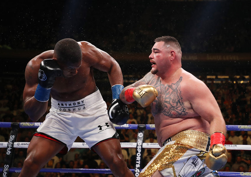 Andy Ruiz Jr. punches Anthony Joshua after their IBF/WBA/WBO heavyweight title fight at Madison Square Garden on Saturday, June 1, 2019 in New York City, N.Y.