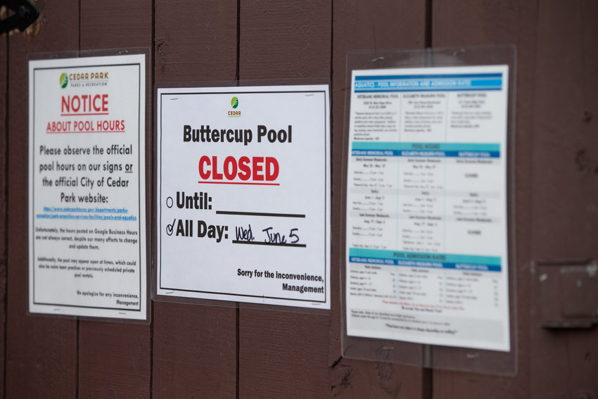 The Buttercup Pool in Cedar Park was closed on Wednesday, June 5, 2019, following a Tuesday incident in which a child was taken to the hospital.