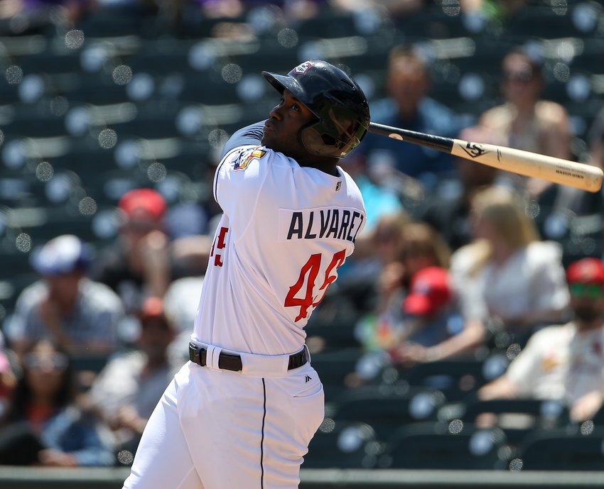 Round Rock Express left fielder Yordan Alvarez (45) at bat during a Minor League Baseball game between Round Rock and Memphis on April 15, 2019 at Dell Diamond in Round Rock, Texas.