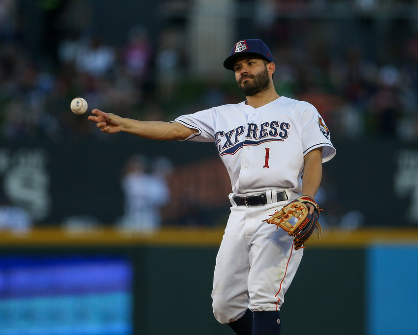 Houston Astros second baseman Jose Altuve (1), playing with the Round Rock Express, during a Minor League Baseball game between the Round Rock Express and the Reno Aces on June 14, 2019 at Dell Diamond in Round Rock, Texas.
