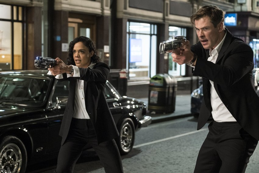 "Agent M (Tessa Thompson) and Agent H (Chris Hemsworth) in ""Men in Black: International."""