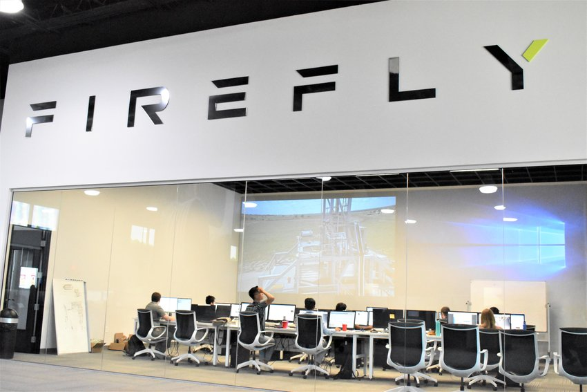 Desks inside Firefly Aerospace's headquarters in Cedar Park. The company will create a new lunar lander called the Genesis based on one made by Israel Aerospace Industries called the Beresheet that failed it's landing on the moon in April 2019.