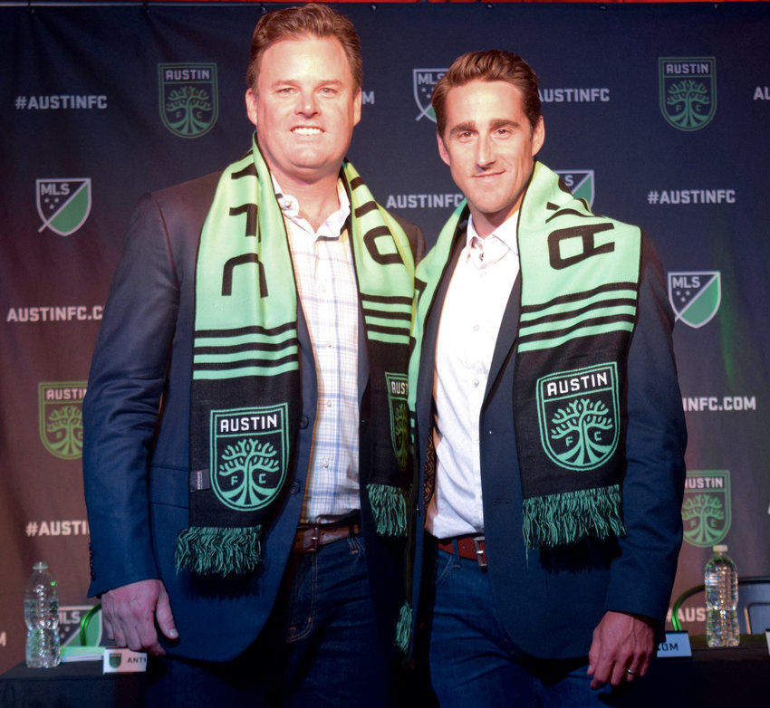 Austin FC head coach Josh Wolff, right, with Two Oak Ventures Chairman and CEO Anthony Precourt at an introductory press conference on Tuesday morning.