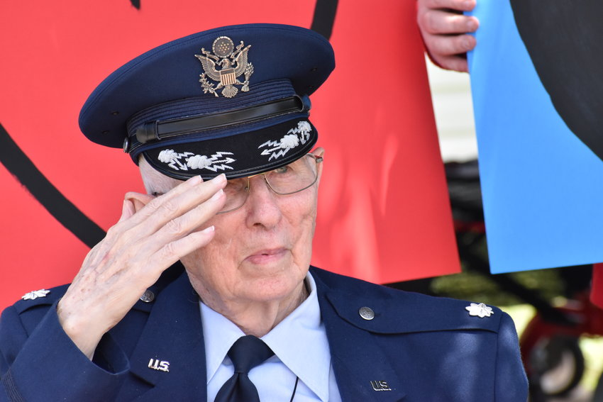 Lt. Col. Jerry Jennings salutes for a photo shortly before his first helicopter flight in years.