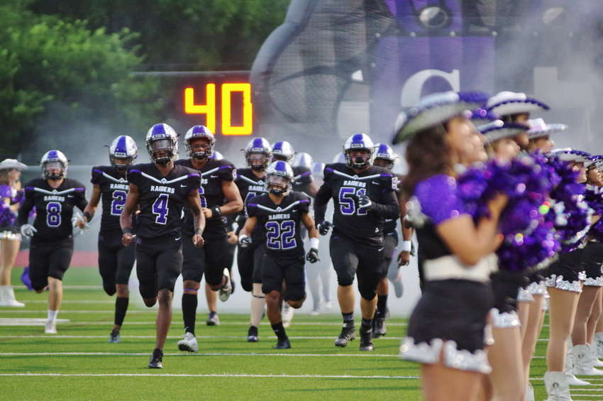 Cedar Ridge High School Raiders come out of the gate against Hendrickson at Dragon Field on October 12, 2018.