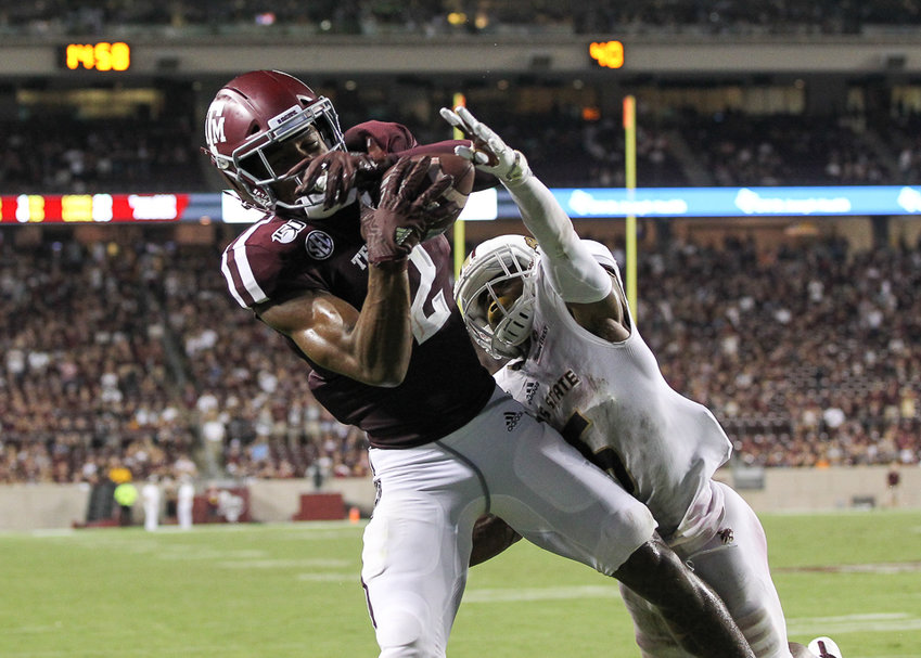 Texas A&M Aggies wide receiver Jhamon Ausbon (2) brings in a 1-yard touchdown pass in the fourth quarter of an NCAA football game between Texas A&M and Texas State at Kyle Field in College Station, Texas on August 29, 2019.
