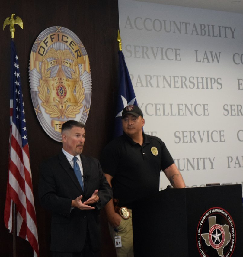 Cedar Park Police Department's Financial Crimes Division Sergeant Scott Buchanan (left) and Cedar Park Police Officer Anthony Bridgewater (right) said there has been an increase in phone scams in the area.