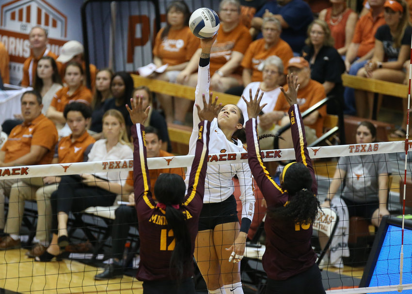 Texas Longhorns outside hitter MICAYA WHITE (1) during an NCAA volleyball match between Texas and Minnesota at Gregory Gymnasium in Austin, Texas on September 4, 2019.
