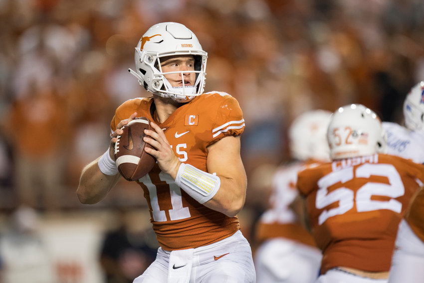 Texas quarterback Sam Ehlingher and the No. 12 Longhorns travel to face Rice Saturday night at NRG Stadium in Houston.