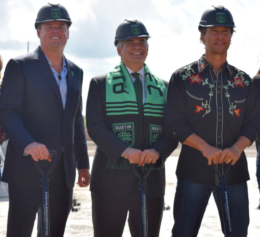 Austin FC CEO Anthony Precourt, Austin Mayor Steve Adler and academy award-winning actor Matthew McConaughey at the Austin FC stadium groundbreaking.