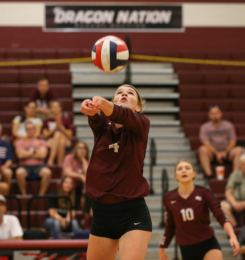 Round Rock Dragons senior setter Sarah Keilen (4) during a high school volleyball match between Round Rock and the Vandegrift at Round Rock High School in Round Rock, Texas on September 3, 2019.