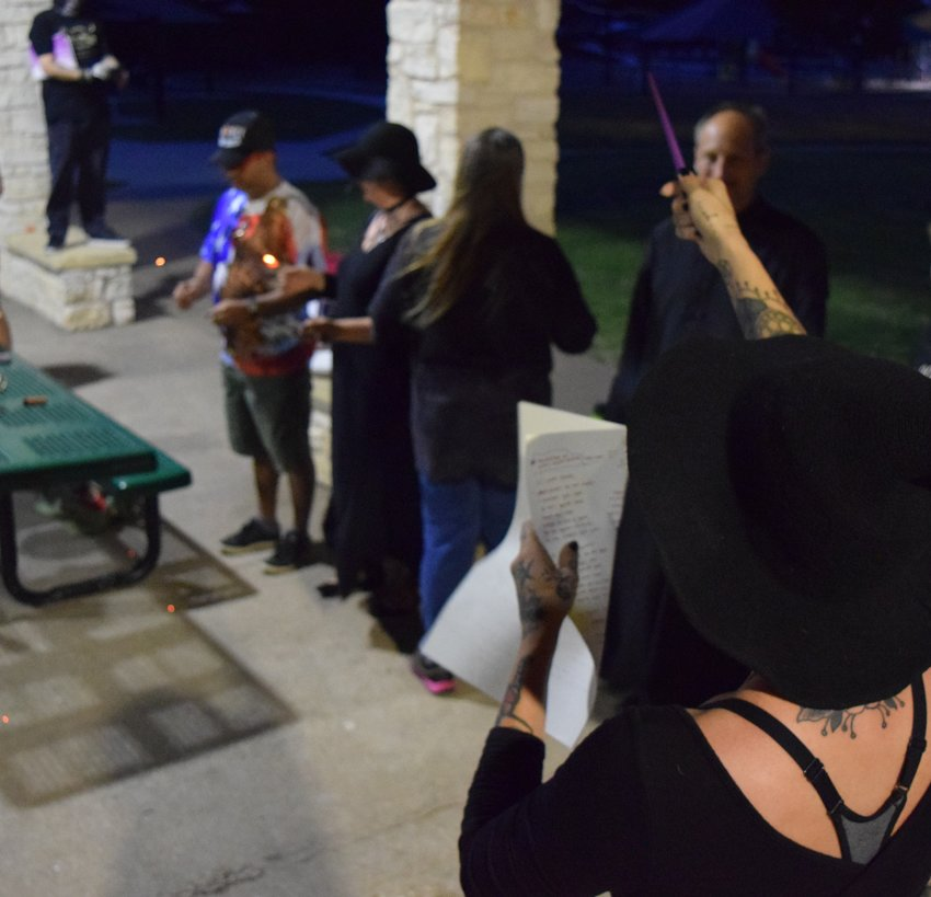 Activists read incantation at Peace Ritual in response to Cedar Park Council members controversial statements.