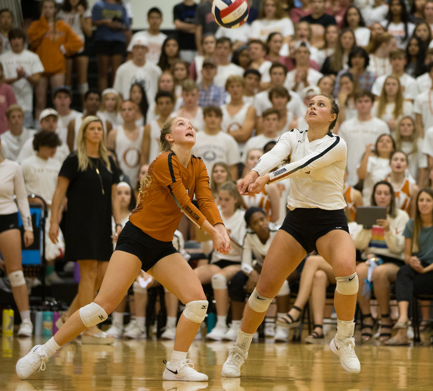 The Westwood Warriors during a high school volleyball match between Westwood and Vandegrift at Westwood High School in Austin, Texas, on September 17, 2019.