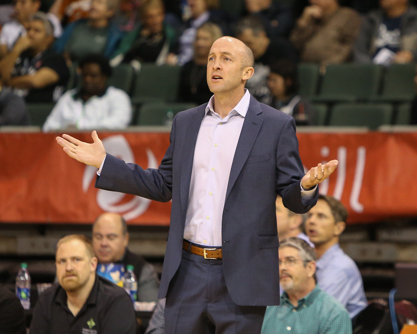 Austin Spurs head coach Blake Ahearn during an NBA G-League basketball game between the Austin Spurs and the Agua Caliente Clippers on Friday, Nov. 30, 2018 in Cedar Park, TX.