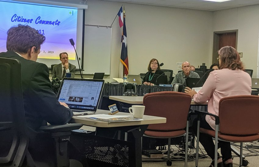 LISD parent Jeanette Holohan talks about the importance of meaningful inclusion in special education at the Leander Independent School District board meeting Thursday.