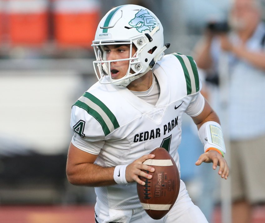 Cedar Park quarterback Ryder Hernandez and the Timberwolves look to continue the District 11-5A, DI season with a win against Georgetown on Friday night.