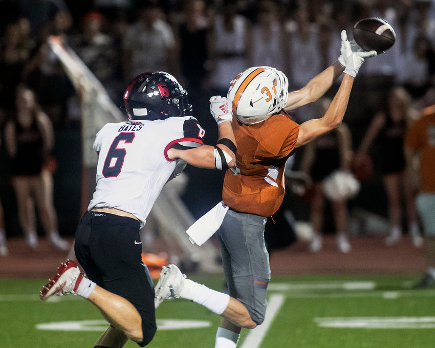 ROUND ROCK, TX; Vista Ridge safety Corbin Bates (6) defends a long pass against Westwood's Jace Lyne (3) in the fourth quarter of a District 13-6A football game in the 49-43 Rangers victory over the Warriors on Friday, Sept 20, 2019, at Dragon Stadium.