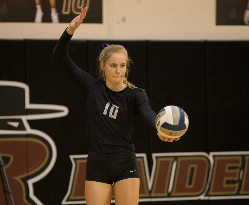 Rouse Raiders senior setter Kara Erfurth (10) during a high school volleyball match between Rouse and Weiss at Rouse High School in Leander, Texas, on September 24, 2019.