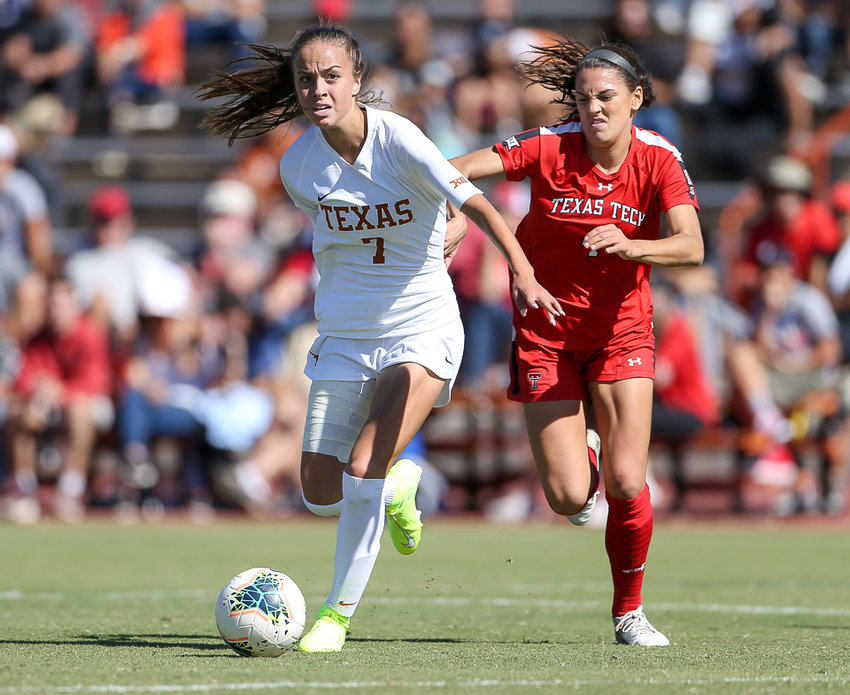 Texas Longhorns midfielder Julia Grosso (7) moves the ball during an NCAA women's soccer match between Texas and Texas Tech at Mike A. Myers Stadium in Austin, Texas, on Oct. 27, 2019.