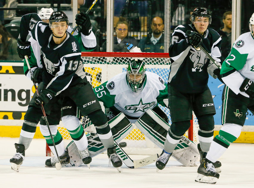 The Texas Stars played the San Antonio Rampage in an American Hockey League game at the HEB Center in Cedar Park, Texas, on November 1, 2019.  San Antonio won 4-2.