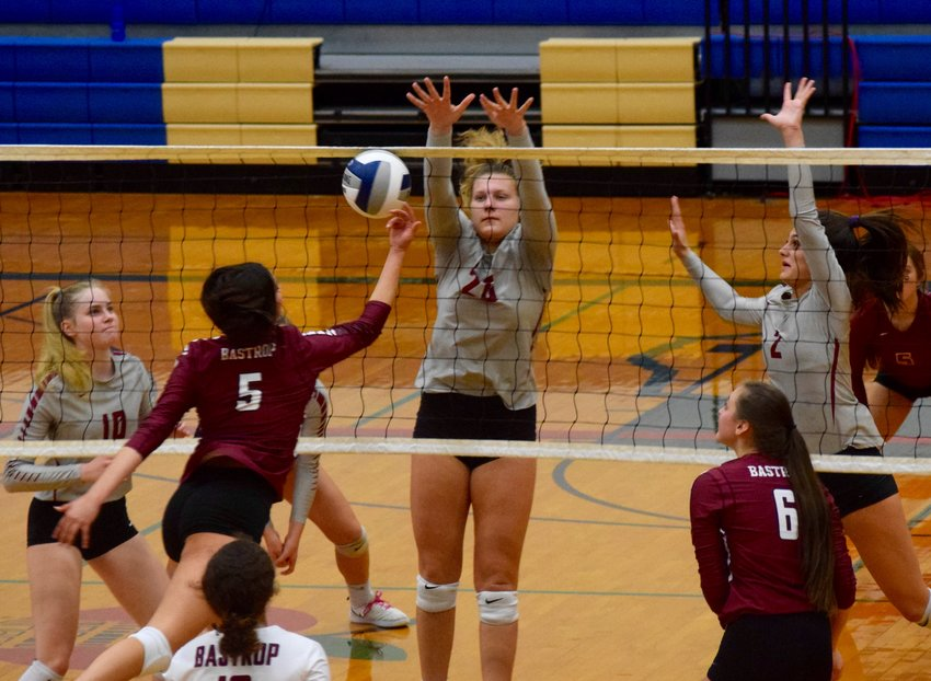 Rouse senior Madison Butler and the Raiders swept Bastrop Monday night at the Delco Center to move on to the area round of the playoffs. They will face either Kingwood Park or Brenham in the second round.