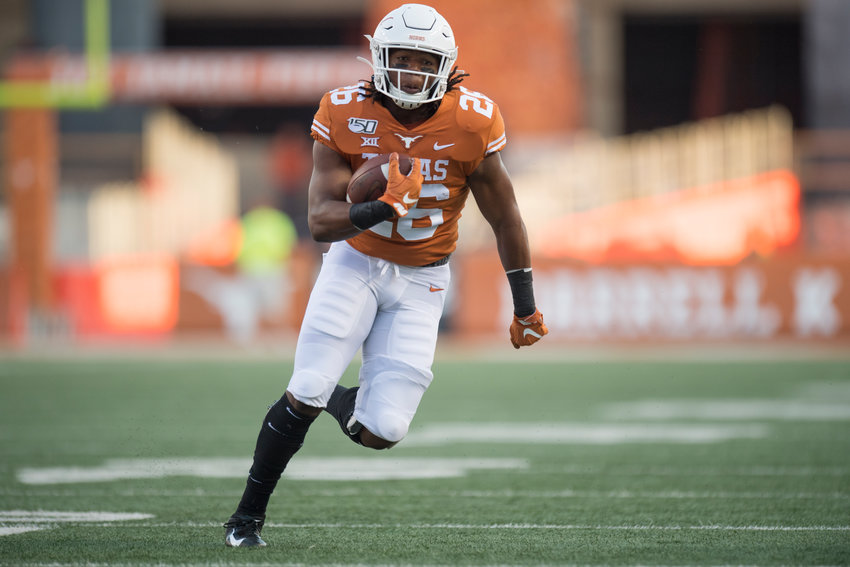 Texas running back Keaontay Ingram rushed for 139 yards and a pair of touchdowns on 16 attempts in Saturday's win over Kansas State.
