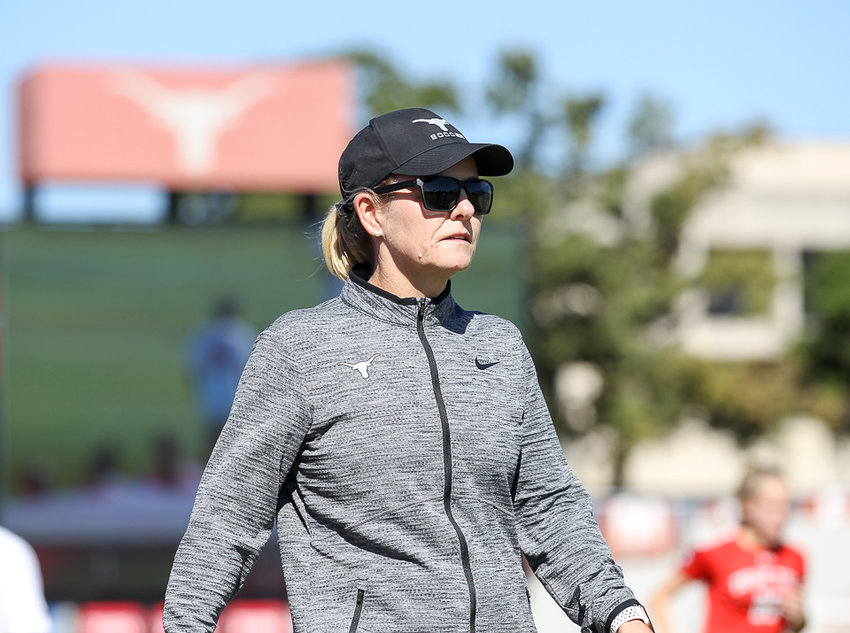 Texas Longhorns head coach Angela Kelly during an NCAA women's soccer match between Texas and Texas Tech at Mike A. Myers Stadium in Austin, Texas, on Oct. 27, 2019.
