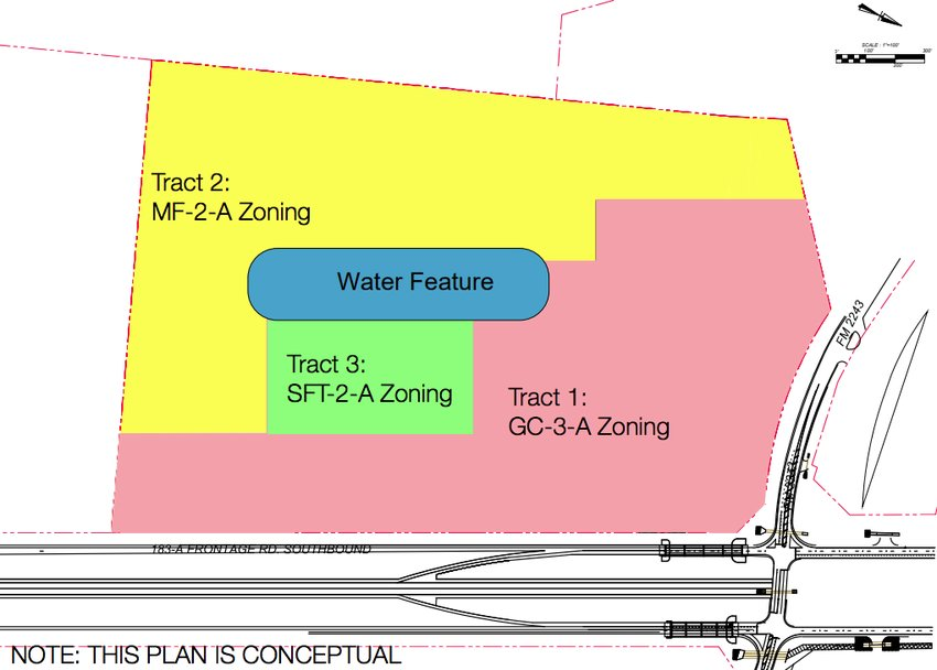 The conceptual drawing of the proposed Leander Springs development, which was presented to the council back in July 2018, shows the potential location of a water feature in the development.