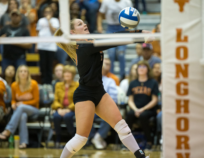 Texas Longhorns libero AUTUMN ROUNSAVILLE (13) during an NCAA volleyball tournament match between Texas and UC Santa Barbara at Gregory Gymnasium in Austin, Texas, on Dec. 6, 2019. Texas came back from a 2-1 deficit to win the match 3-2.