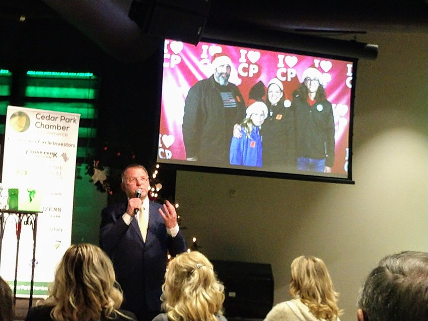 Cedar Park Mayor Corbin Van Arsdale delivered his annual State of the City address Wednesday, Dec. 11 during the Cedar Park Chamber of Commerce's monthly meeting at Hill Country News Ministries.
