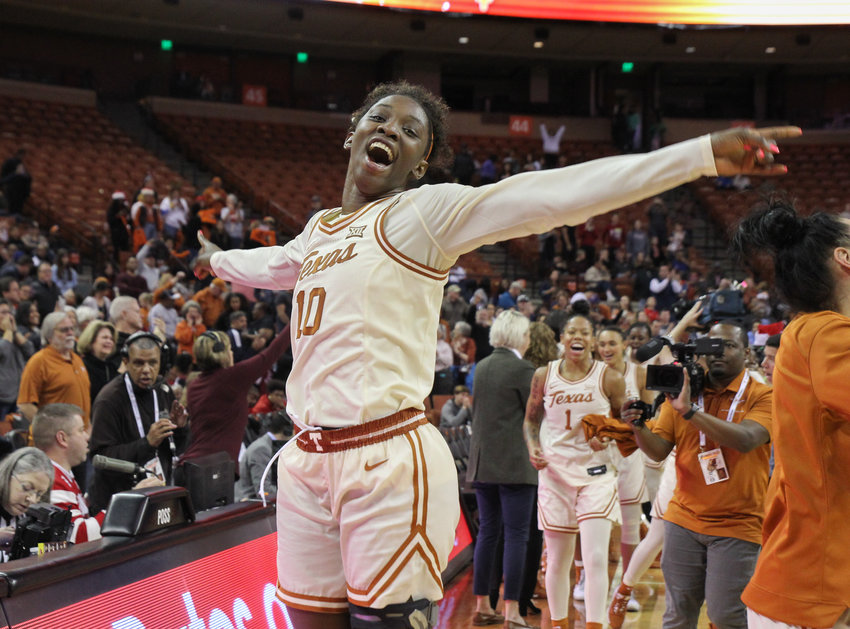 Texas Longhorns guard Lashann Higgs (10) celebrates after beating No. 1 ranked Stanford 69-64 in an NCAA women's basketball game at the Frank Erwin Center in Austin, Texas, on Dec. 22, 2019.