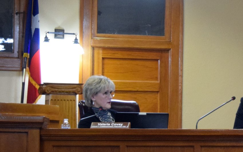Williamson County Commissioner Valerie Covey listens to public comments on Tuesday.