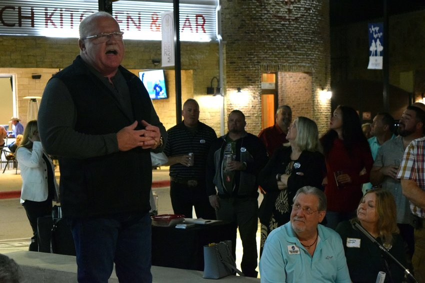 Mike Gleason speaks about his candidacy for Williamson County Sheriff at his campaign kick-off party on Jan. 15.