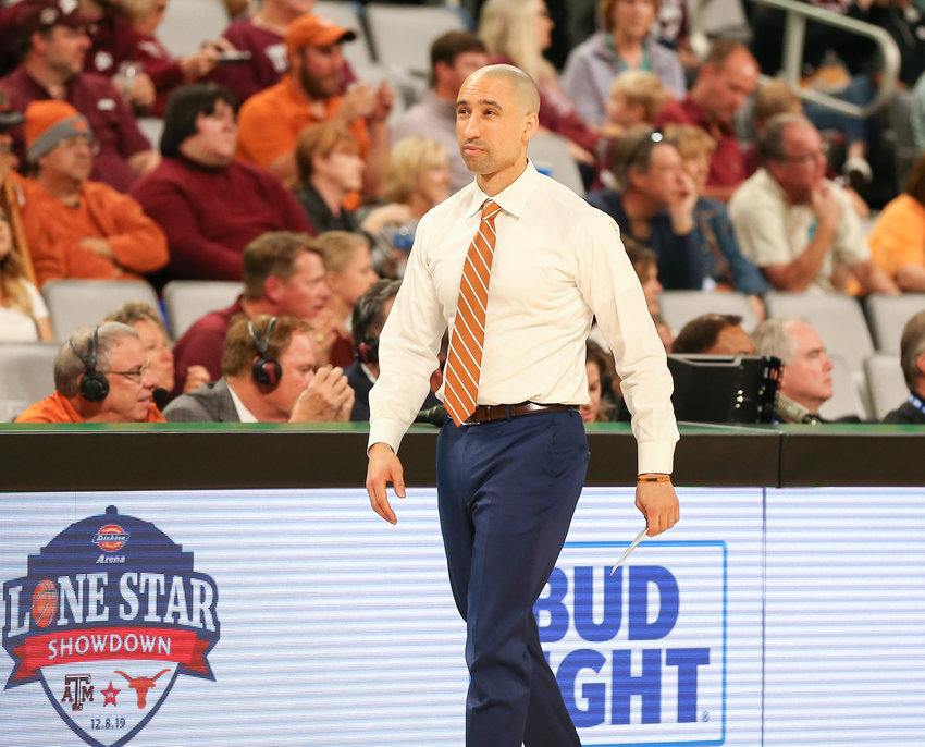 Texas Longhorns head coach Shaka Smart during an NCAA men's basketball game between Texas and Texas A&M at Dickie's Arena in Fort Worth, Texas, on Dec. 8, 2019. Texas won, 60-50.