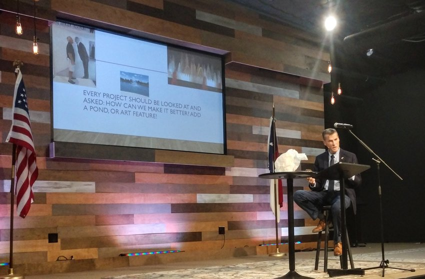 Leander Mayor Troy Hill talked about Leander's future Tuesday, Jan. 28, during the annual State of the City address, which was held at Hill Country Bible Church in Leander.
