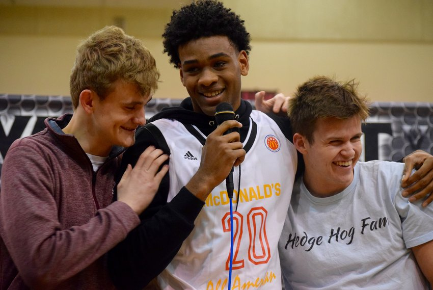 Vandegrift senior Greg Brown officially received his McDonald's All-American jersey on Friday morning. The game is April 1 at the Toyota Center in Houston.