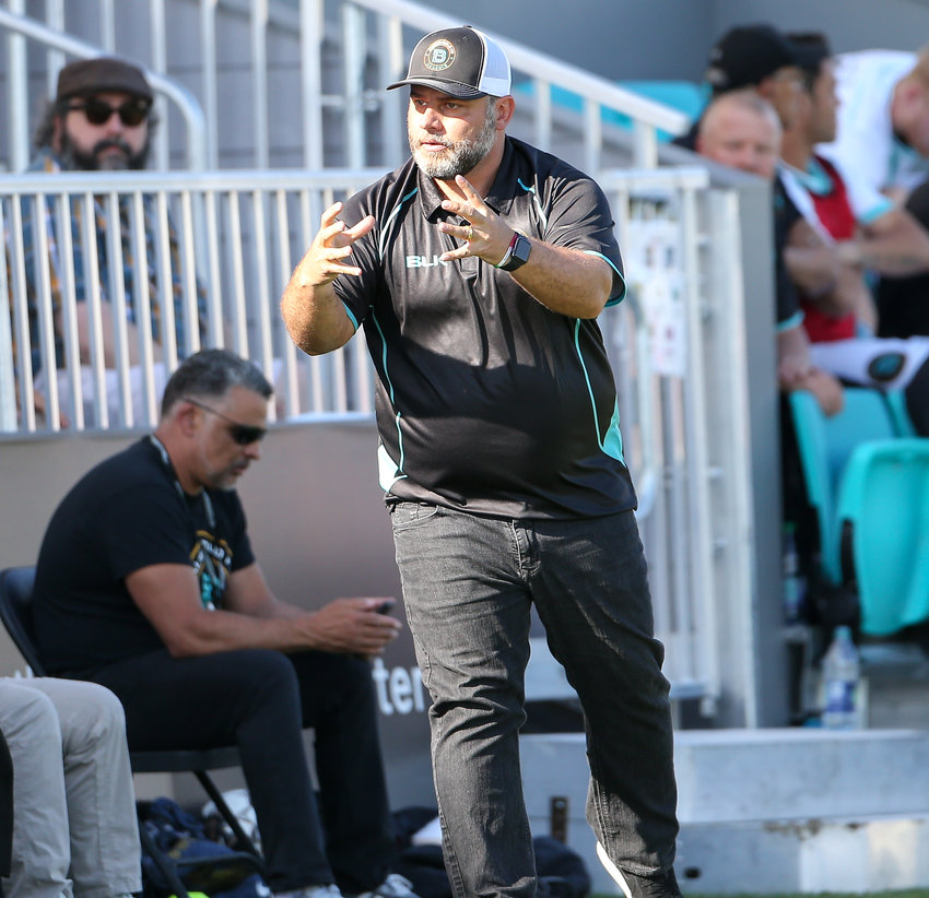 Austin Bold FC coach Marcelo Serrano during a United Soccer League game between Austin Bold FC and El Paso Locomotive FC on April 21, 2019 at Bold Stadium in Austin, Texas.