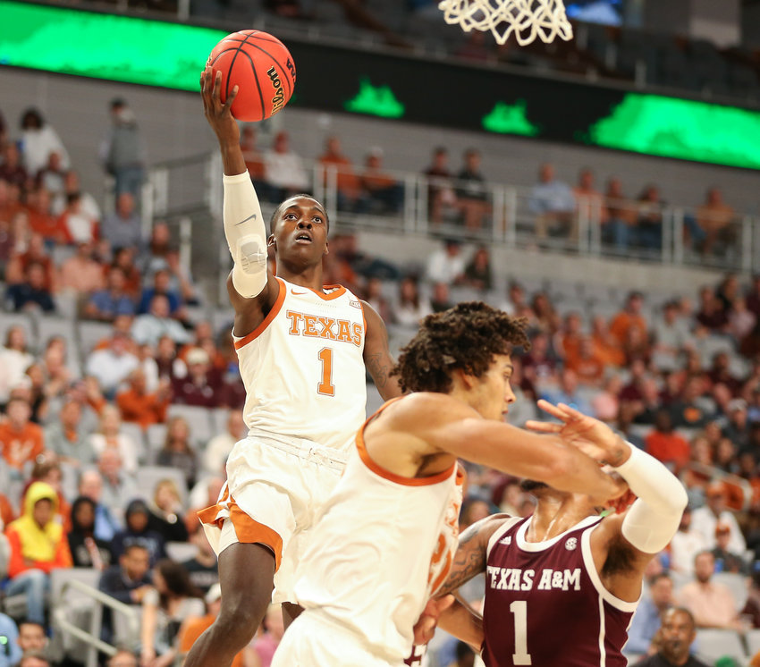 Texas Longhorns guard Andrew Jones (1) goes to the basket during an NCAA men's basketball game between Texas and Texas A&M at Dickie's Arena in Fort Worth, Texas, on Dec. 8, 2019. Texas won, 60-50.