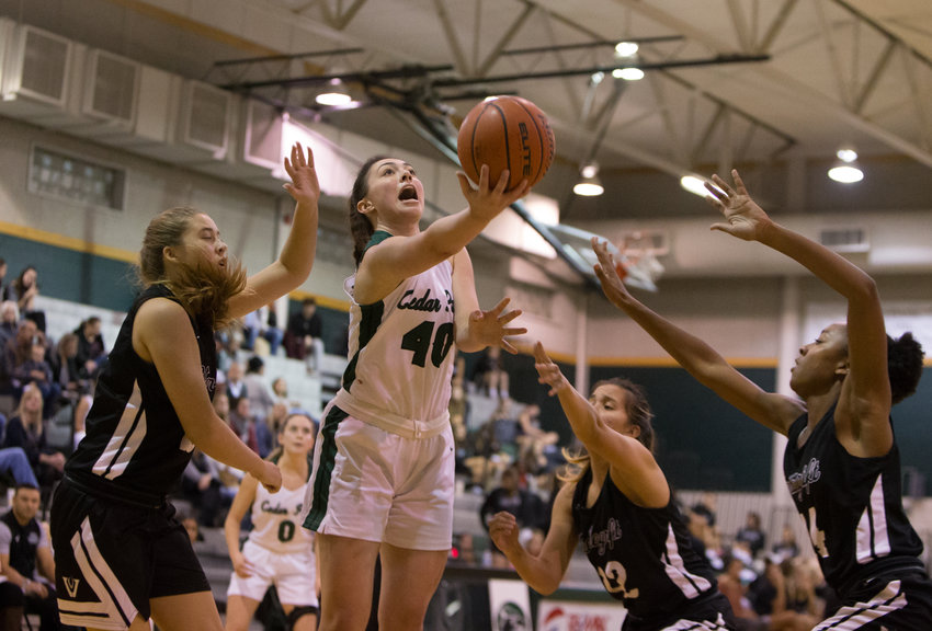 Cedar Park Timberwolves center Nicole Leff (40) goes to the basket during a high school girls basketball game between Cedar Park and Vandegrift at Cedar Park High School on Tuesday, Nov. 13, 2018 in Cedar Park, TX.