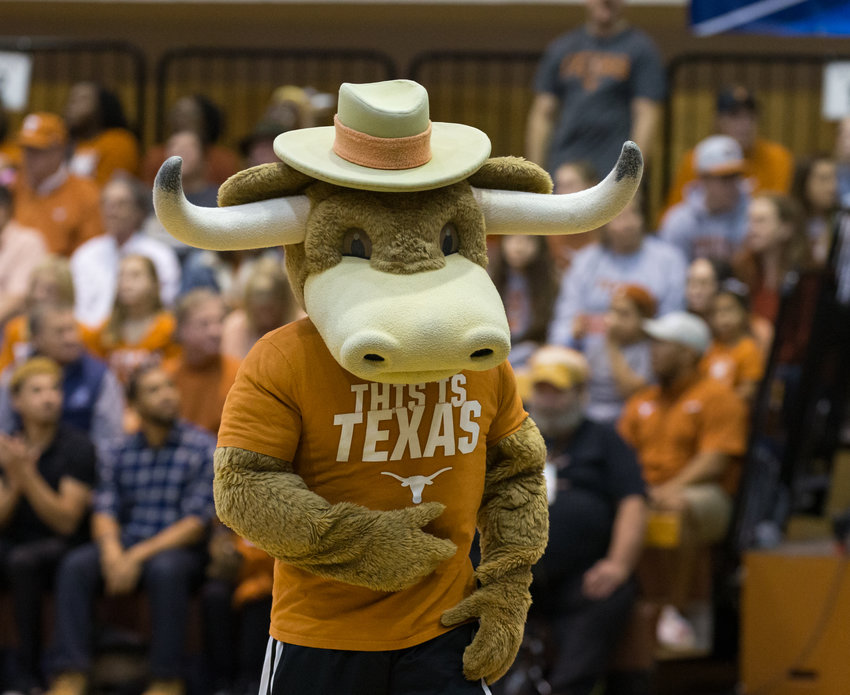 Texas Longhorns mascot Hook 'em during an NCAA volleyball tournament second-round match between Texas and UC Santa Barbara at Gregory Gymnasium in Austin, Texas, on Dec. 6, 2019. Texas came back from a 2-1 deficit to win the match 3-2.